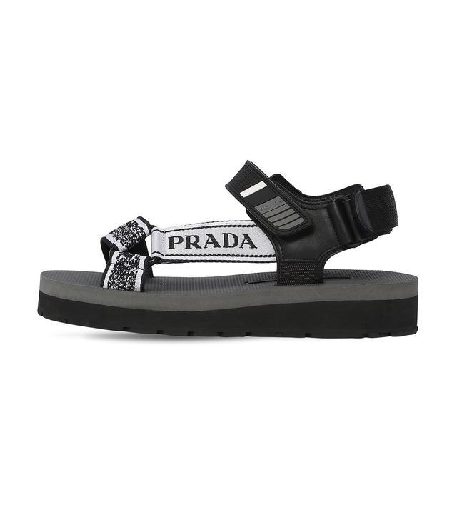Prada Nastro Jacquard Buckle Platform Sandals