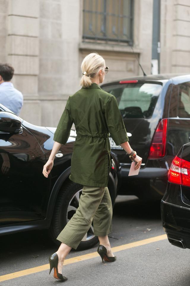 French editor wardrobe capsule: utility green