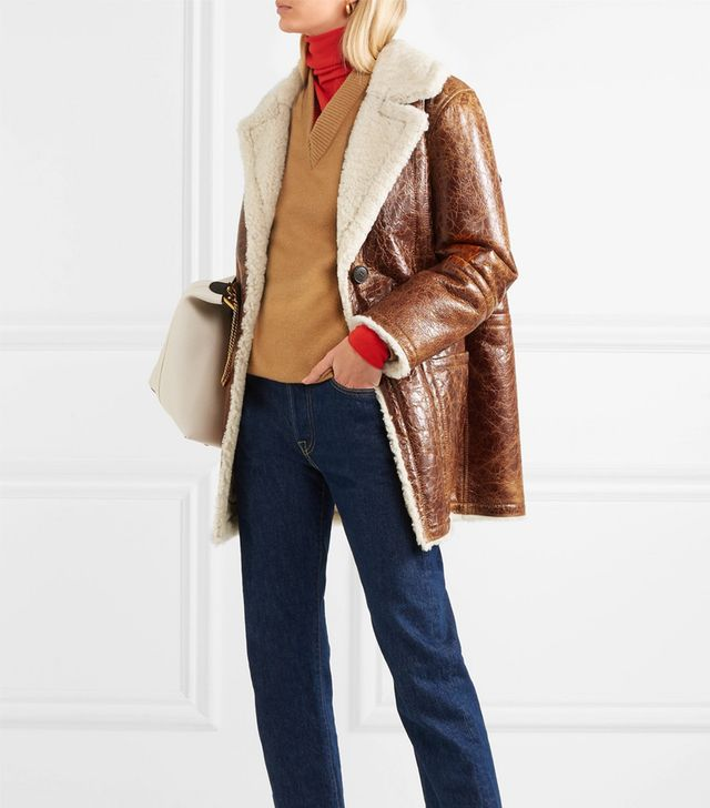 Yves Salomon Cracked Glossed-Shearling Coat