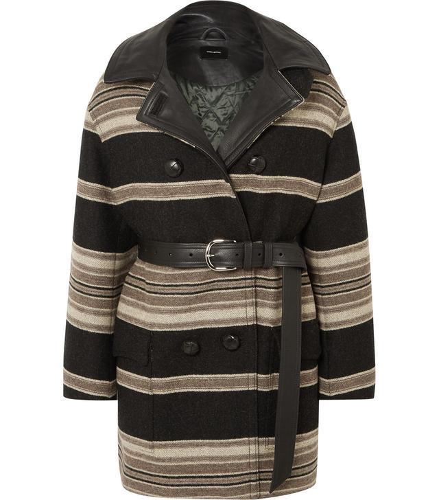 Isabel Marant Hilda Belted Striped Wool-Blend Coat