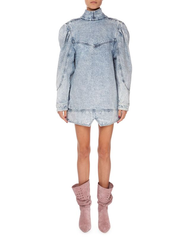 Isabel Marant Rholmy Long-Sleeve High-Neck Denim Dress