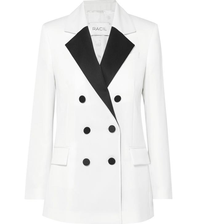 Racil Hatanaka Double-Breasted Wool-Piqué Blazer