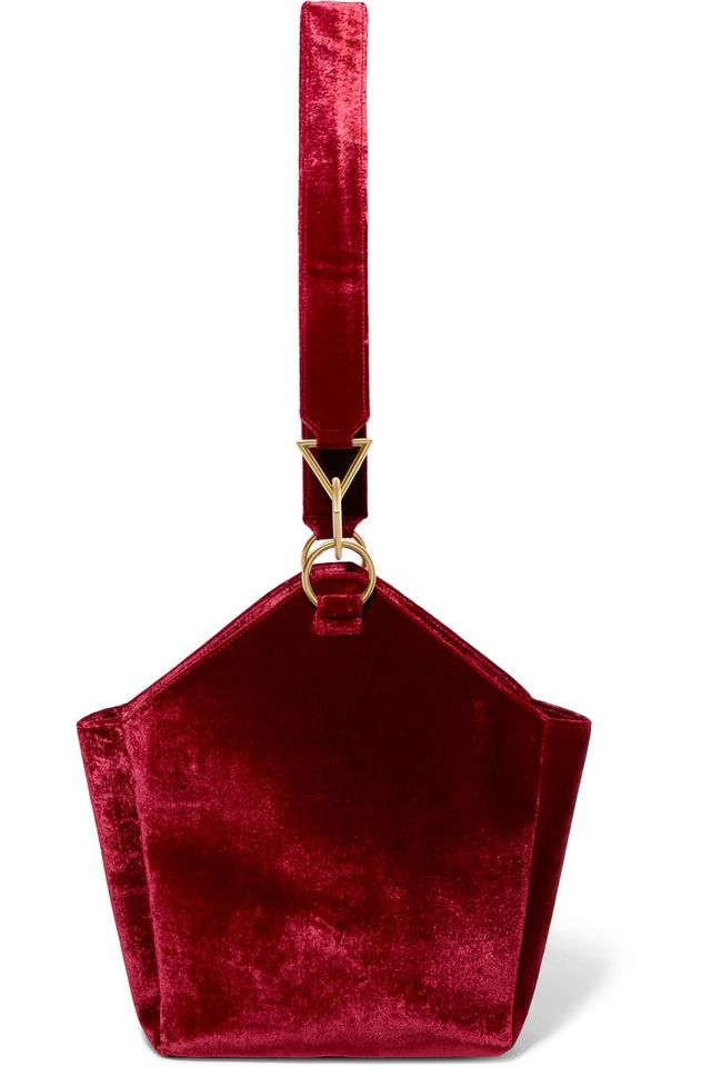 Tara Zadeh Arezu Crushed-Velvet Shoulder Bag