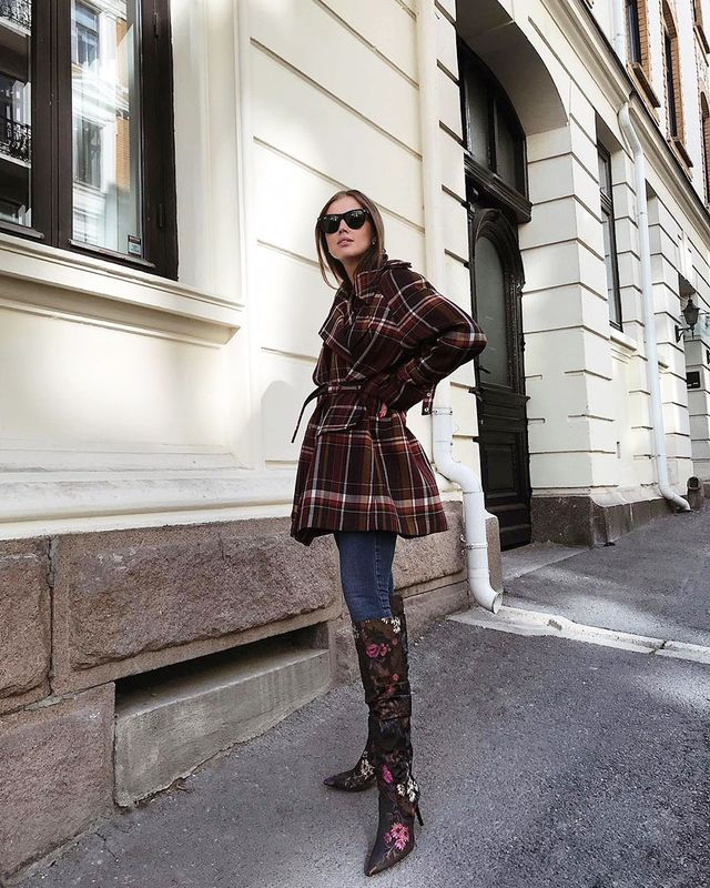 Knee-High Boots and Skinny Jeans: Check Coat