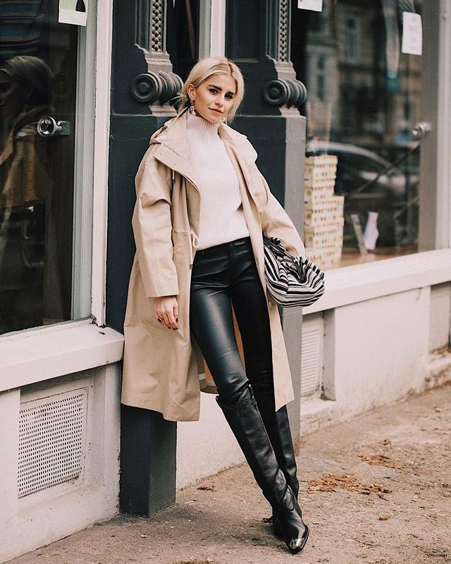 Knee-High Boots and Skinny Jeans: Coated Denim
