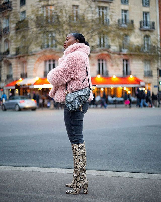 Knee-High Boots and Skinny Jeans: Pink Fur Coat