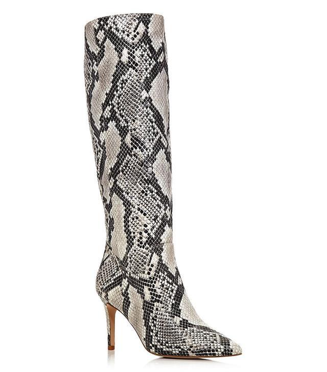 Aqua Lenni Snake-Embossed Leather Tall Boots
