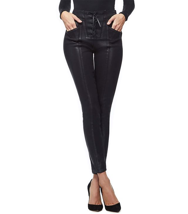 Good American Coated Lace-Up High Waist Skinny Jeans
