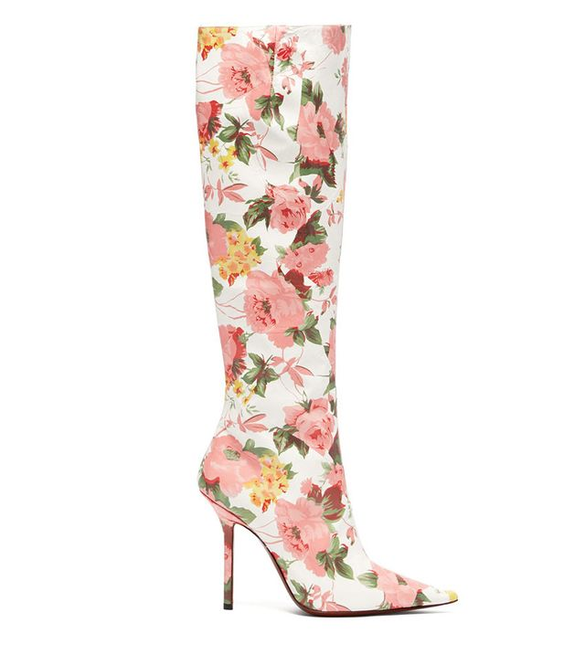 Vetements Floral Print Leather Knee High Boots