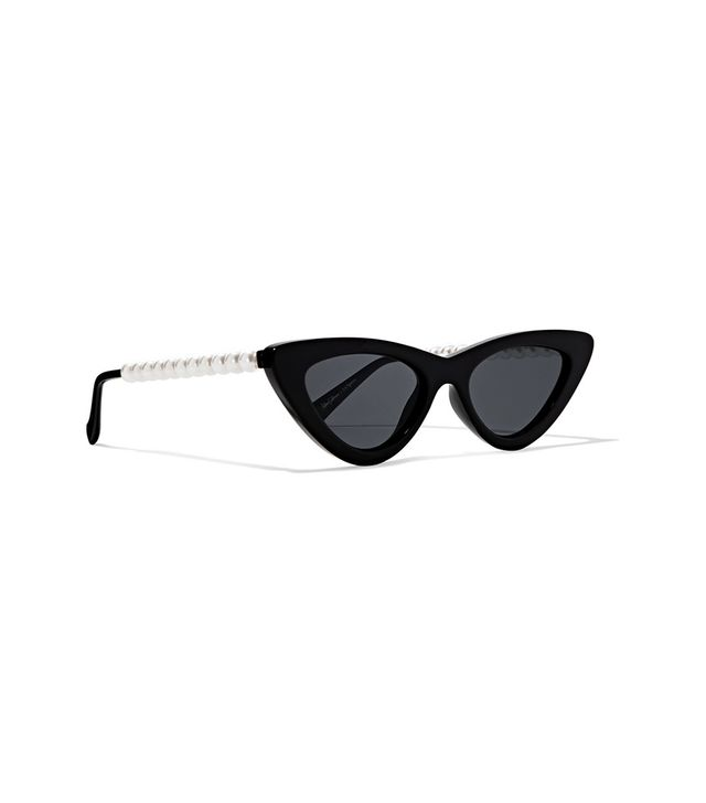 Le Specs The Last Lolita Faux Pearl-Embellished Cat-Eye Acetate Sunglasses