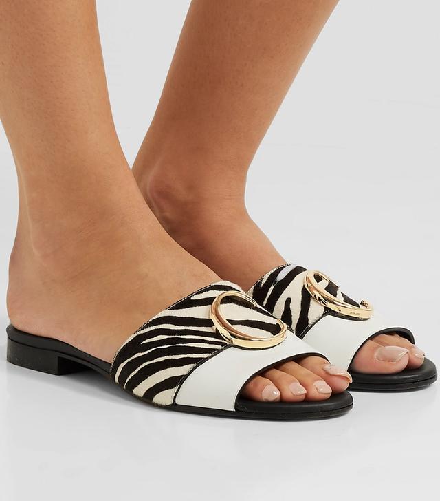 Chloé Leather and Zebra-Print Calf Hair Slides