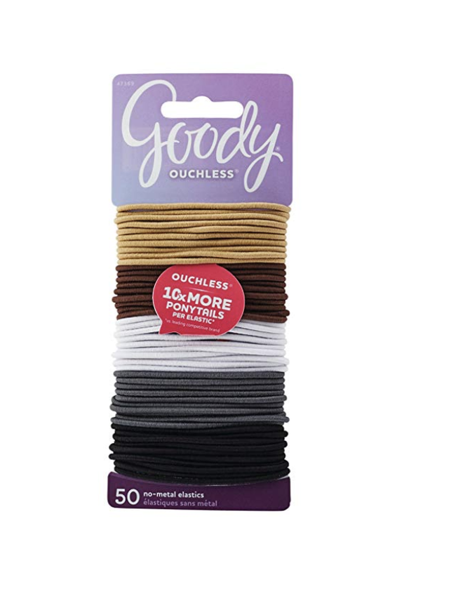 Goody Ouchless Braided Hair Elastics, Value Pack, 2 mm, 50 Count