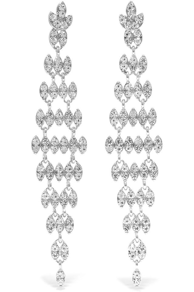 Kenneth Jay Lane Silver and Rhodium-Plated Crystal Earrings