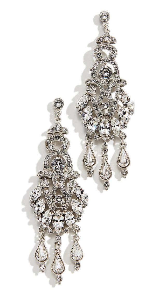 Ben-Amun Ornate Crystal Drop Post Chandelier Earrings