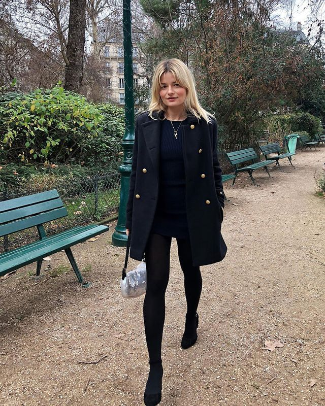 Effortless Outfits To Wear In 2019: Black Dress and Peacoat