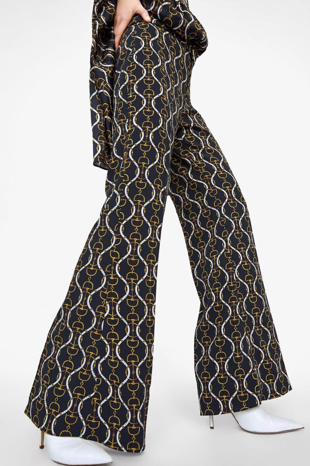 Zara Flared Chain Print Pants