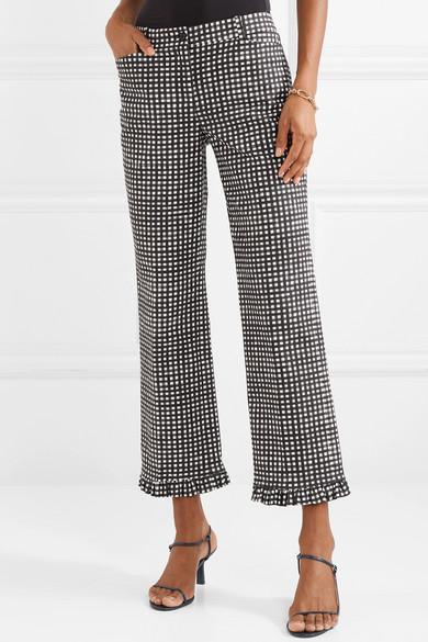 Michael Kors Collection Ruffled Gingham Cotton-Poplin Straight-Leg Pants