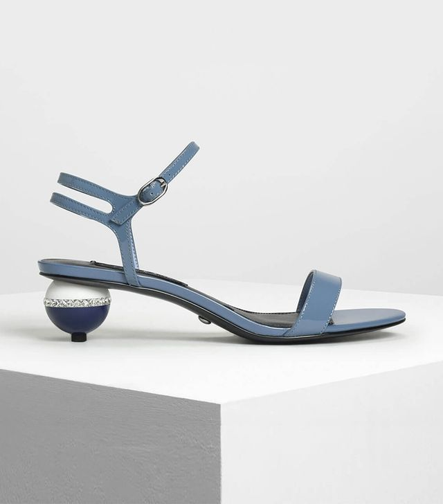 Charles & Keith Leather Balloon Heel Sandals