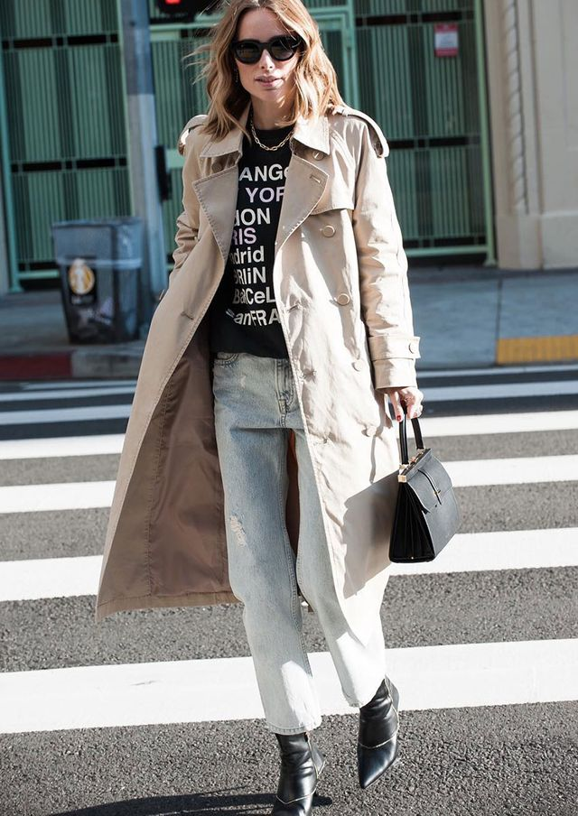 Light-Jean Outfits: Trench Coat and Boots