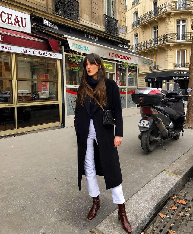 French-Girl Outfit: Black Coat and White Jeans