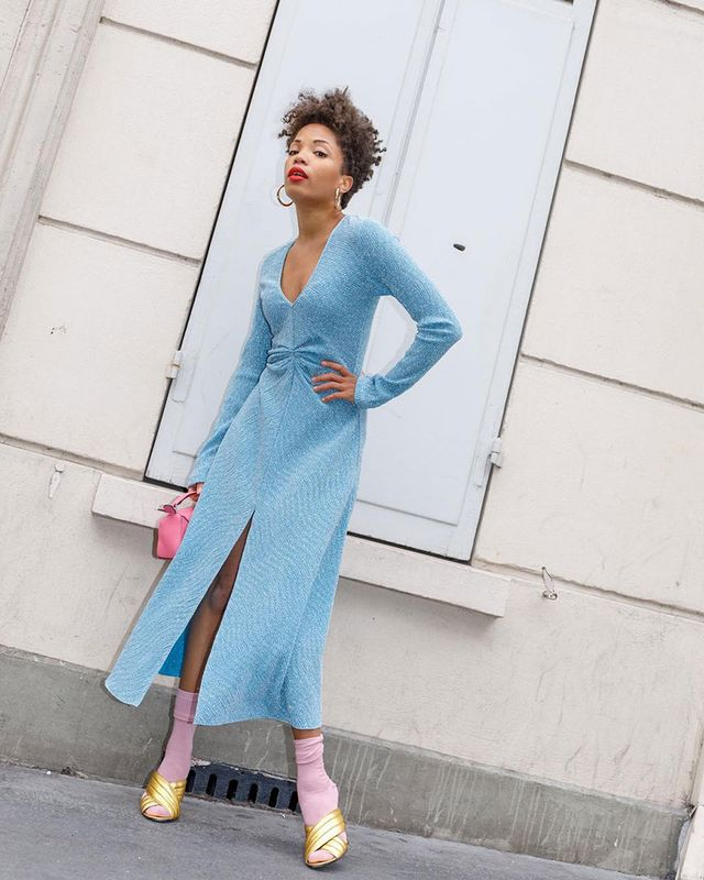 French-Girl Outfit: Blue Dress