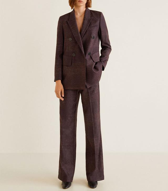 Mango Flecked Wool-Blend Suit Blazer