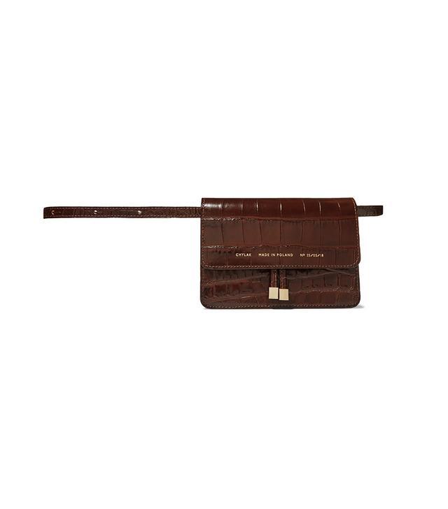 Chylak Mini Croc Effect Glossed-Leather Belt Bag