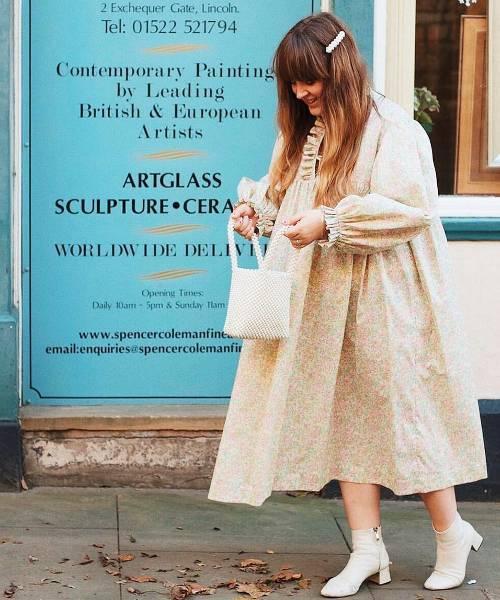 Best smock dresses: Charlotte Jacklin in floral smock dress