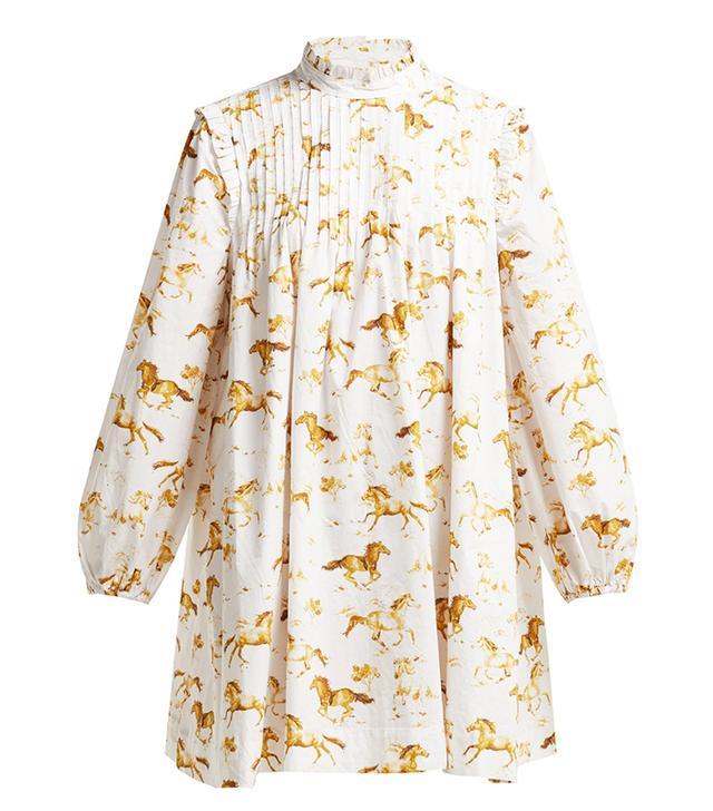 Ganni Weston Horse-Print Cotton Dress