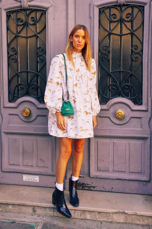 Best smock dresses: Nuria Val wearing Ganni dress
