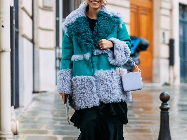 Lilac shearling street style