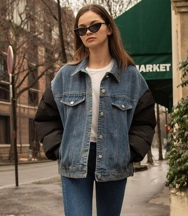 Pixie Market Puffy Contrast Denim Jacket