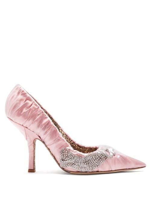 Midnight 00 Crystal Embellished Ruched Satin Pump