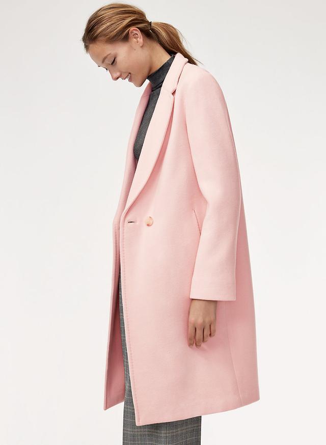 Aritzia Stedman Wool Coat in Pink