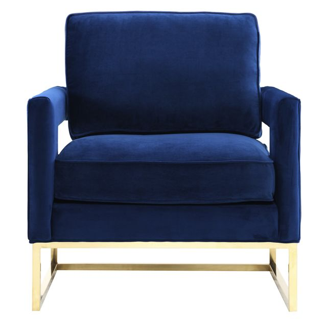 Overstock Emory Navy Velvet Chair