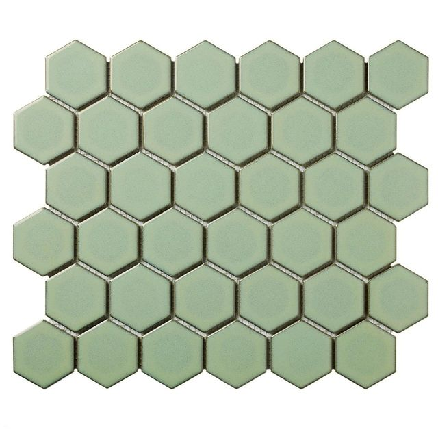 Barcelona Hexagon Glazed Porcelain Mosaic Tile Glossy Green With Retro Edge, Case of 10 sheets