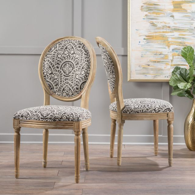 Christopher Knight Home Phinnaeus Patterned Fabric Dining Chair, Set of 2