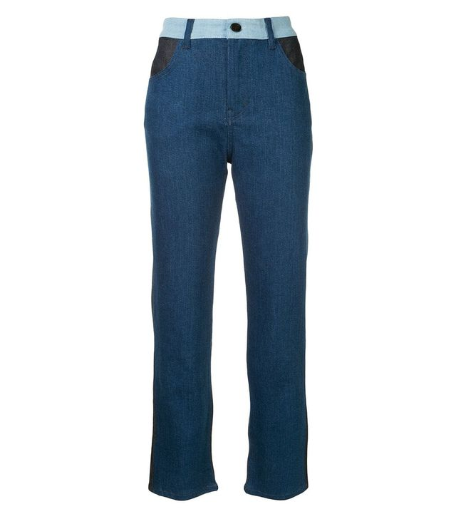 Victoria by Victoria Beckham Patch Detail Jeans