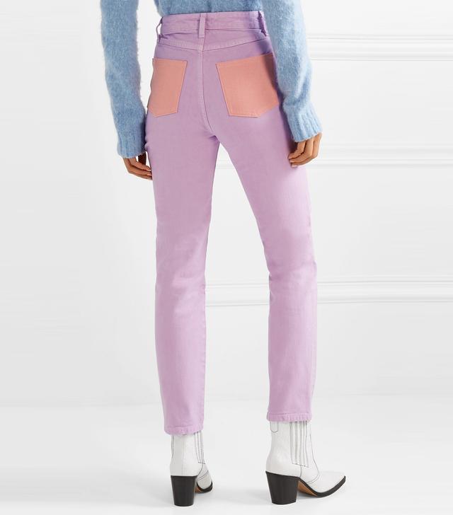 Staud Blonde Two-Tone High-Rise Slim-Leg Jeans