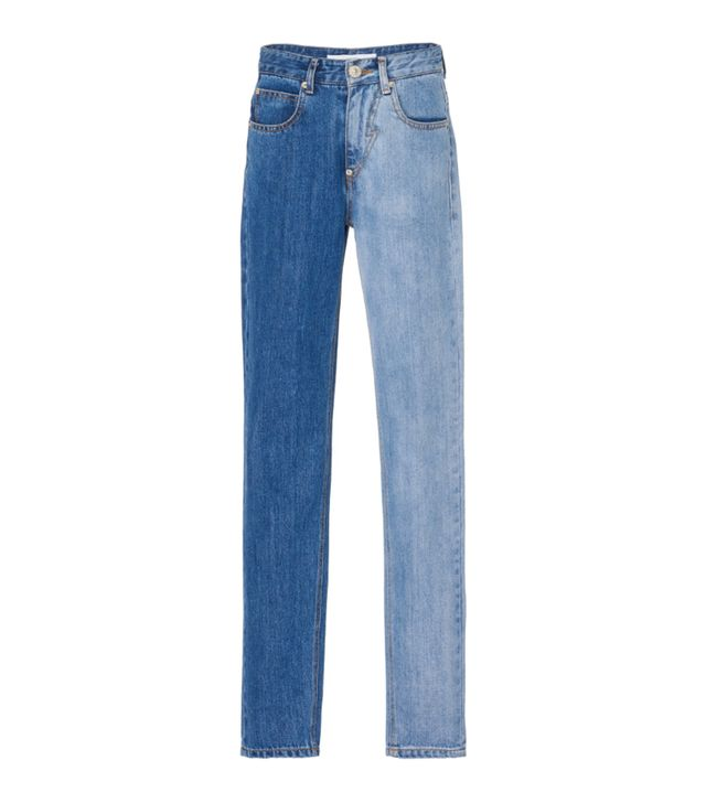 PushButton Two-Tone Straight Leg Jeans