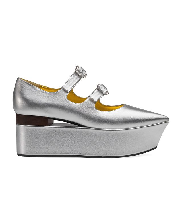 Gucci Metallic Leather Mary-Jane Flatforms