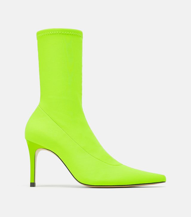 Zara Fluorescent Sock Style Heeled Ankle Boots