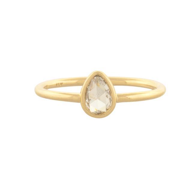 Mociun Pear Rose Cut Diamond Ring