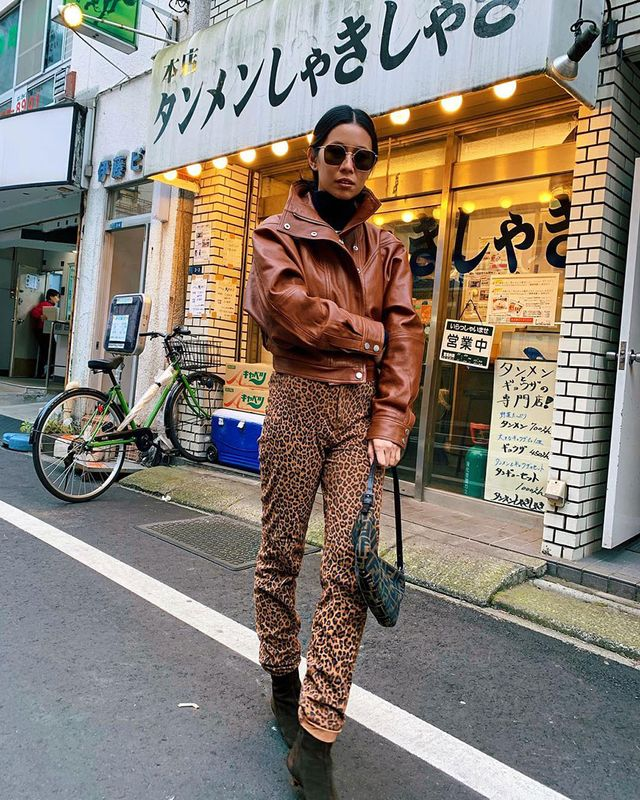 All Brown Outfits: Leather Jacket and Leopard Pants