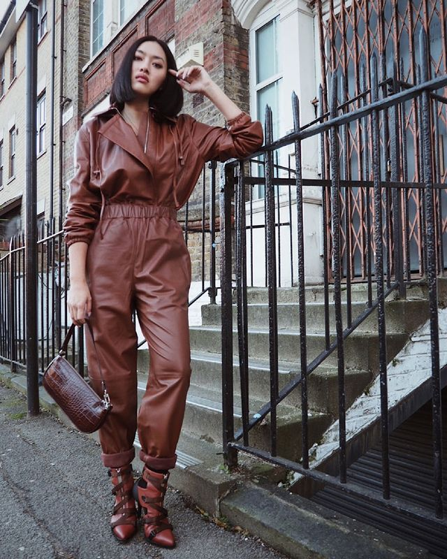 All Brown Outfits: Leather Jumpsuit