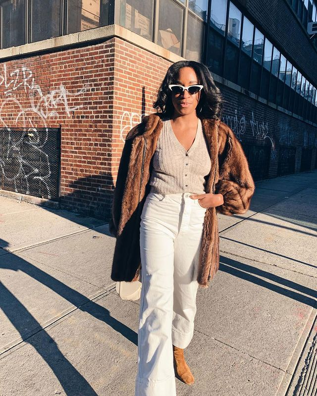 All Brown Outfits: Faux-Fur Coat