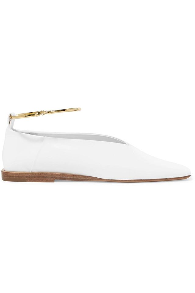 Jil Sander Embellished Glossed-Leather Ballet Flats