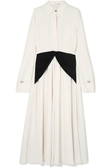 Victoria Beckham Embellished Silk-Paneled Crepe de Chine Dress