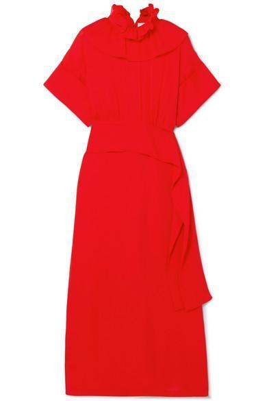 Victoria Beckham Ruffled Silk Crepe de Chine Midi Dress