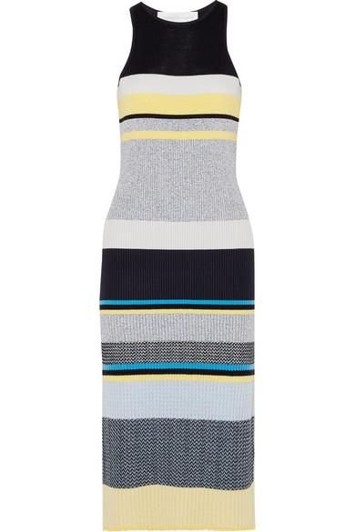 Victoria by Victoria Beckham Striped Ribbed-Knit Midi Dress